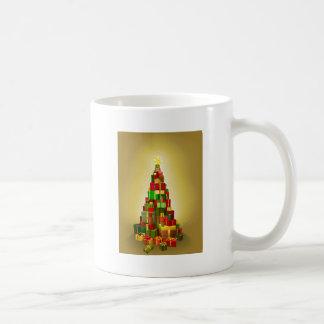 Gold Christmas present tree Illustration Coffee Mugs