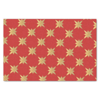 Gold Christmas Star Sketch on Red matches Cardinal Tissue Paper