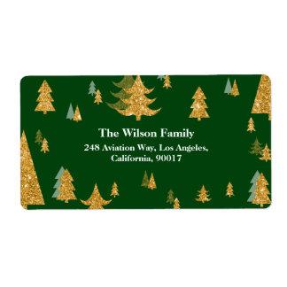 Gold Christmas Tree Address Label