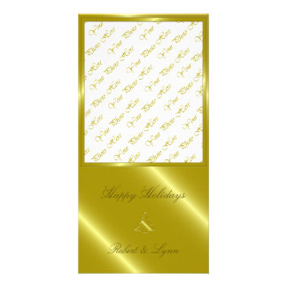Gold Christmas Tree Embossed Greetings Personalized Photo Card