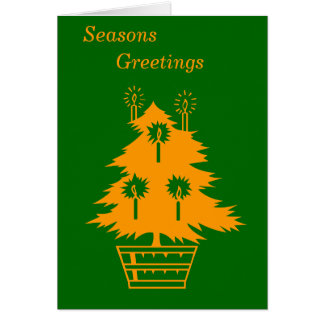 gold Christmas tree graphic design red xmas card Card