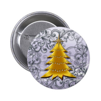 Gold Christmas Tree on Silver filligree Button