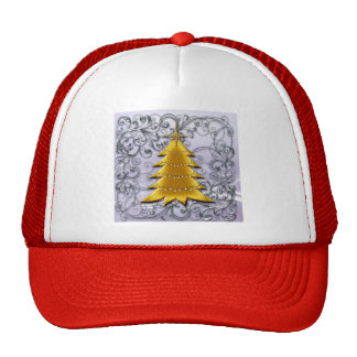 Gold Christmas Tree on Silver filligree Trucker Hat