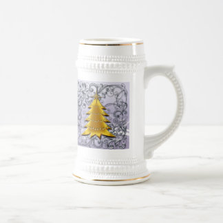 Gold Christmas Tree on Silver filligree Coffee Mug