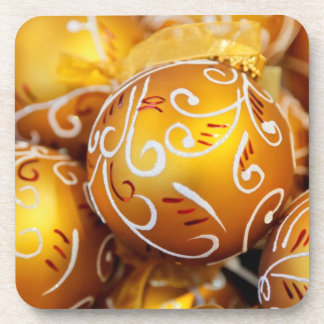 Gold Christmas Tree Ornaments Beverage Coasters