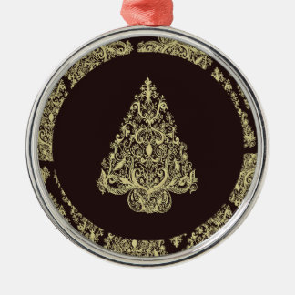 Gold Christmas Tree Premium Round Ornament