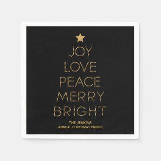 Gold Christmas Tree Typography Christmas Napkin Disposable Serviettes