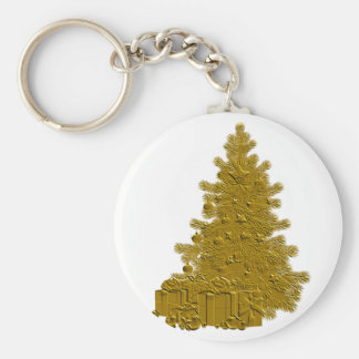 Gold Christmas Tree with Gifts Keychains