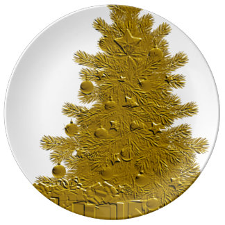 Gold Christmas Tree with Gifts Porcelain Plate