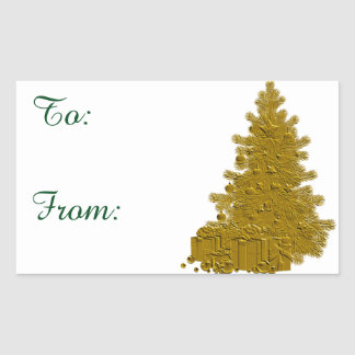 Gold Christmas Tree with Gifts Rectangular Sticker