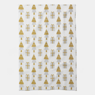 Gold Christmas Trees and Presents Kitchen Towel