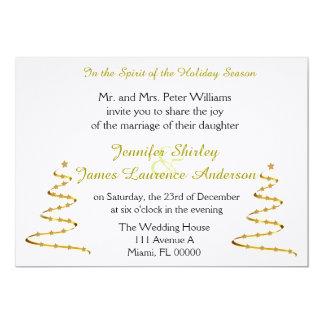 "Gold Christmas Trees Christmas Wedding Invitation 5"" X 7"" Invitation Card"