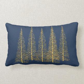 Gold Christmas Trees on Blue Lumbar Throw Pillow