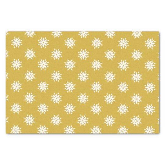 Gold Christmas white snowflakes Tissue Paper