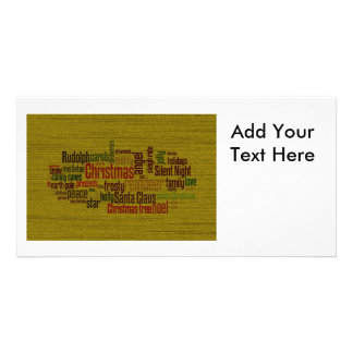 Gold Christmas Word Cloud Photo Card