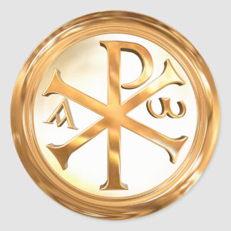 Gold Christogram Classic Round Sticker