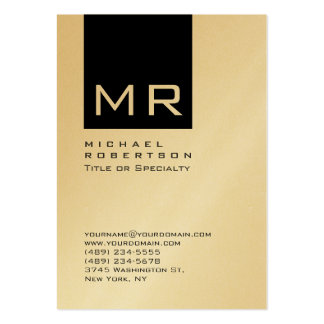 Gold Chubby Stylish Black Monogram Business Card