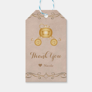 Gold Cinderella Pumpkin Carriage Party Favor Gift Tags