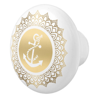 Gold Circle Mandala & White Boat Ancho Ceramic Knob