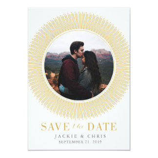 Gold Circle Save the Date Card