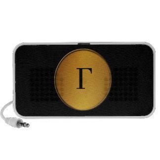 Gold circle speaker with monogram logo