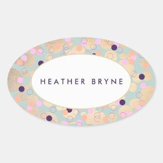 Gold Circles Colorful Confetti Beauty Salon Fun Oval Sticker