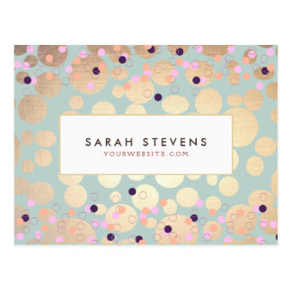 Gold Circles Colorful Confetti Beauty Salon Fun Postcard