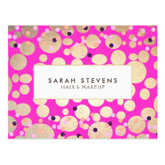 Gold Circles Confetti Beauty Salon Hot Pink Postcard