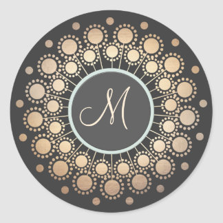 Gold Circles Ornate Monogrammed  Black Classic Round Sticker