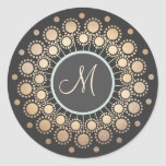 Gold Circles Ornate Monogrammed  Black Stickers