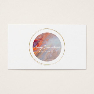 Gold Circular Fire Opal Design Business Card