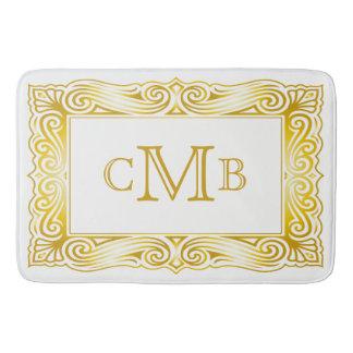 Gold Classic Monogram Decorative Traditional Frame Bath Mat