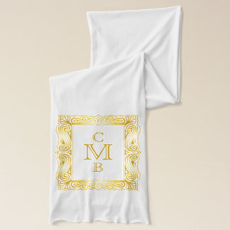 Gold Classic Monogram Decorative Traditional Frame Scarf