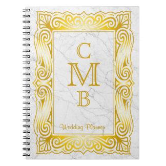 Gold Classic Monogram Elegant Frame White Marble Notebook