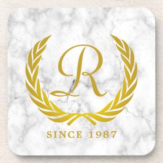 Gold Classic Monogram Laurel Leaf White Marble Coaster