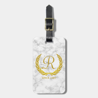 Gold Classic Monogram Laurel Leaf White Marble Luggage Tag