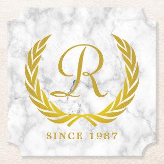 Gold Classic Monogram Laurel Leaf White Marble Paper Coaster