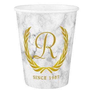 Gold Classic Monogram Laurel Leaf White Marble Paper Cup
