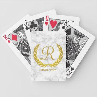 Gold Classic Monogram Laurel Leaf White Marble Poker Deck