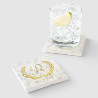 Gold Classic Monogram Laurel Leaf White Marble Stone Coaster