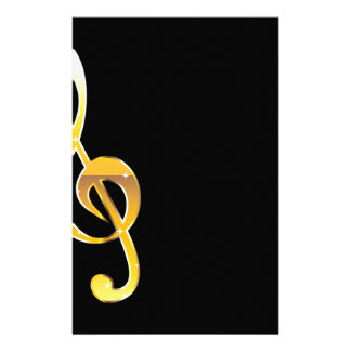 Gold Clef Music Key Vector Stationery Paper
