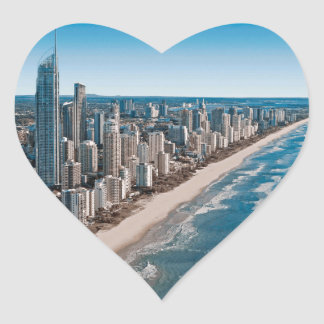 Gold Coast Australia Aerial View Heart Sticker