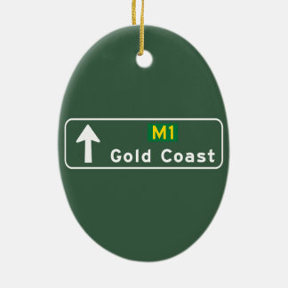 Gold Coast, Australia Road Sign Ceramic Ornament