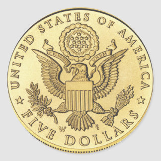 Gold Coin Classic Round Sticker