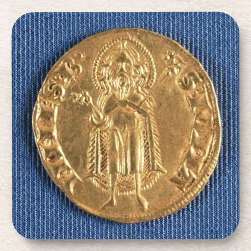Gold coin, with St. John the Baptist, 16th century Drink Coaster