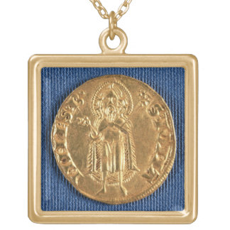 Gold coin, with St. John the Baptist, 16th century Square Pendant Necklace