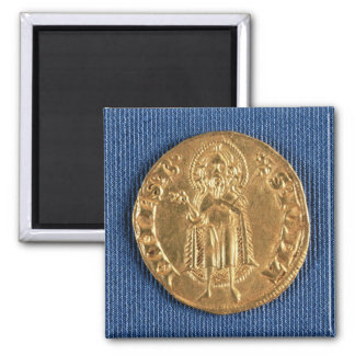 Gold coin, with St. John the Baptist, 16th century Square Magnet