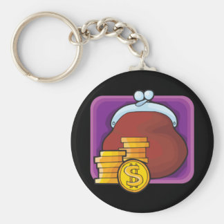 Gold Coins Basic Round Button Key Ring