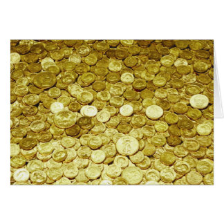 gold coins greeting card