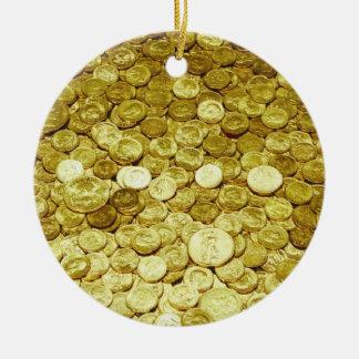 gold coins round ceramic decoration